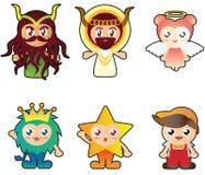 Illustratie van zes vreemde leuke karakters Royalty-vrije Stock Afbeeldingen