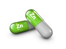Illustratie van Zinkmineraal De glanzende complexe capsule en de vitamine van de dalingspil Gezond het levens medisch dieetsupple royalty-vrije illustratie