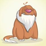 Illustratie van zittings grappige Oude Engelse Herdershond Vectorbeeldverhaalhond Royalty-vrije Stock Fotografie