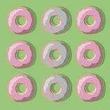 Illustratie van zoete donuts van geel, roze en groen op een groene achtergrond Royalty-vrije Stock Foto's