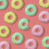 Illustratie van zoete donuts van geel, roze en groen op een rode achtergrond Royalty-vrije Stock Afbeeldingen