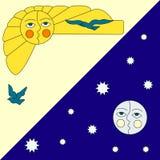 Illustratie van zon en maan Royalty-vrije Stock Foto's