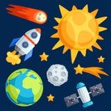 Illustratie van zonnestelsel, planeten en Royalty-vrije Stock Afbeeldingen