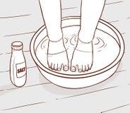 Illustratie van zout waterbehandeling op de voeten Royalty-vrije Stock Afbeeldingen