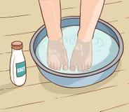 Illustratie van zout waterbehandeling op de voeten Stock Fotografie
