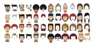 Illustratie vastgestelde avatars vrouwelijke en mannelijke gezichten Stock Foto's