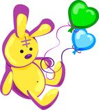Illustratie vector, gele hazen, verjaardag, stuk speelgoed, vakantie, gift, ballons, pret vector illustratie