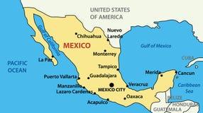 Illustratie - vectorkaart van Verenigde Mexicaanse Staten Royalty-vrije Stock Afbeeldingen