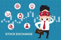 Illustratie vlak ontwerp van de bedrijfsmens die beurs op kandelaarachtergrond vinden Stock Afbeeldingen