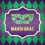 Illustratie voor de Mardi Gras-vakantie Vector beeld Masker, inschrijving, mooie achtergrond Perfectioneer voor prentbriefkaar Stock Afbeelding