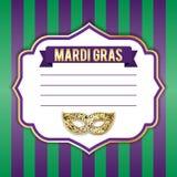 Illustratie voor de Mardi Gras-vakantie Vector beeld Masker, inschrijving, mooie achtergrond Perfectioneer voor prentbriefkaar Royalty-vrije Stock Afbeeldingen