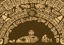 Illustratie voor een sprookje over een magische vis en vissers van een oude stam Royalty-vrije Stock Afbeeldingen