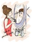 Illustratie voor het boek Bekijk binnen zich Het meisje doet make-up Vertoningen in de spiegel Geheimzinnigheid rond ons Derde Oo Stock Foto