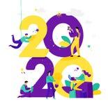 Illustratie voor het Nieuwjaar 2020 Vector De mensen werken rond aantallen De zakenlieden vieren Kerstmis Werknemers in het burea stock illustratie
