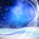 illustratie voor Kerstmis met pijnboomboom en sno Stock Afbeeldingen