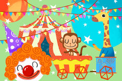 Illustratie voor Kinderen: Dames en Heer, Onthaal aan het Circus! Royalty-vrije Stock Afbeelding