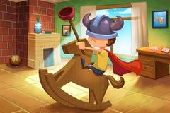 Illustratie voor Kinderen: Little Boy speelt zelf op zijn Eigen Manier Royalty-vrije Stock Afbeeldingen