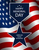 Illustratie voor Memorial Day Medaille van de silhouet de vectorster met lint Stock Fotografie