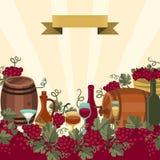 Illustratie voor wijnwijnmakerijen en restaurants Stock Fotografie