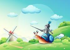 Illustratie vrolijke ridder die de molen op het slakkehuis aanvallen Stock Afbeelding