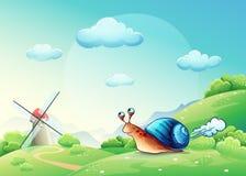 Illustratie vrolijke slak op een weide Stock Foto