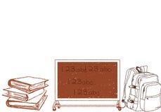 Illustratieachtergrond voor schoolonderwijs Terug naar de naadloze achtergrond van Schoolkrabbels vector illustratie