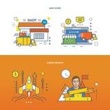 Illustratieconcept - carrière de groei en het winkelen opslag stock illustratie