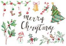 Illustratiehand met symbolics die van Nieuwjaar` s Kerstmis wordt getrokken royalty-vrije stock afbeelding