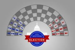 Illustratieidee voor de de Helft van het trimesterverkiezing van de V.S. van November 2018 royalty-vrije illustratie