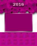 Illustratiekalender voor het bloemen witte roze van 2016 Royalty-vrije Stock Afbeeldingen