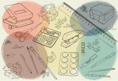 Illustratiekantoorbehoeften met gekleurde vlekken Stock Fotografie