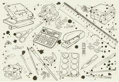 Illustratiekantoorbehoeften zwart-wit met plonsen Royalty-vrije Stock Foto