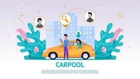 Illustratiekerel en Meisje in Gele Auto, Carpool royalty-vrije illustratie