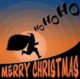 Illustratielandschap Santa Claus die met giften lopen Stock Foto