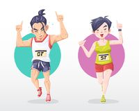 illustratieman en woman marathoner do number één teken met glimlach stock illustratie