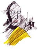 Illustratieoriëntatiepunt die Boedha met een kaap op het lichaam schetsen Royalty-vrije Stock Fotografie