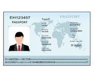 Illustratiepaspoort met biometrische gegevens Stock Afbeelding