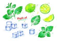 Illustratiereeks Mojito-ingrediënten royalty-vrije illustratie