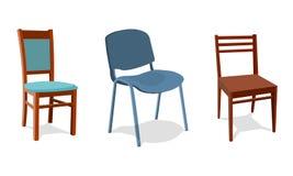 illustratiereeks verschillende stoelen voor huis en bureau Objecten realistisch ontwerp Geïsoleerdj op witte achtergrond 3d vector illustratie