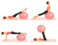 Illustraties die pilates oefeningen met een bal tonen Stock Fotografie