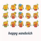 illustraties gelukkige sandwich Royalty-vrije Stock Fotografie