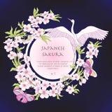 Illustraties met Japanse bloesem roze sakura en vogels met p vector illustratie