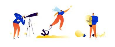 Illustraties op het onderwerp van zaken Vector Metaphoric situaties in zaken Het vinden van oplossingen, dromen en creatieve idee vector illustratie