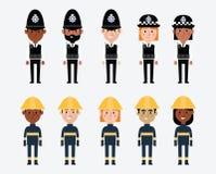 Illustraties van Beroepen in Britse Politie en Brandweren vector illustratie