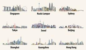 Illustraties van de horizonnen van Singapore, van Kuala Lumpur, van Sydney, van Tokyo, van Seoel, van Peking, van Shanghai, van G vector illustratie