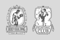 Illustraties van de de Thaise vechter en Bodybuilder van Muay in de kaders Bodybuilding en Thaise in dozen doende affiches stock illustratie