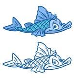 Illustraties van het vissen de blauwe beeldverhaal Stock Fotografie