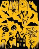 Illustraties voor Halloween op Gele Achtergrond wordt geplaatst die Stock Foto's