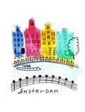 Illustratieschets van de oude straten van de beroemde gekleurde huizen in Amsterdam Stock Foto's