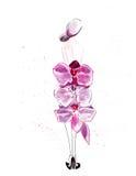 Illustratieschets van vrouwelijk silhouet in kleding Royalty-vrije Stock Foto